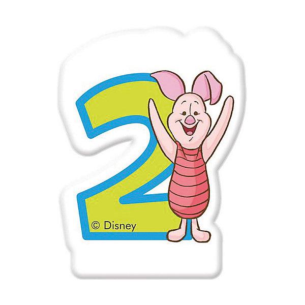 Procos Свечка для торта Цифра 2, Disney Винни Пух procos аксессуар для детского праздника приглашения в конвертах самолеты 6 шт