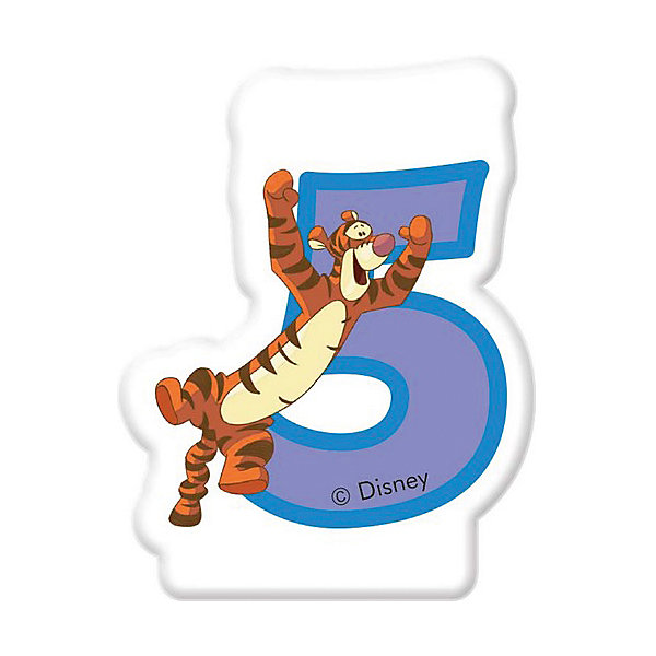 Procos Свечка для торта Цифра 5 Тигруля, Disney Винни Пух посуда и скатерти procos самолеты 120x180 см