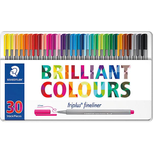 Набор капиллярных ручек Triplus, 30 цветов, StaedtlerРучки<br>Характеристики:<br><br>• возраст: от 7 лет<br>• в наборе: 30 разноцветных ручек<br>• трехгранный корпус<br>• яркие цвета<br>• цвет чернил соответствует цвету колпачка и заглушки<br>• чернила на водной основе<br>• отстирывается с большинства тканей<br>• материал корпуса: полипропилен<br>• толщина линии: 0,3 мм.<br>• упаковка: металлическая коробка с подвесом<br>• размер упаковки: 17,9х31,2х1,9 мм.<br>• вес: 490 гр.<br><br>Набор трехгранных капиллярных ручек Triplus fineliner в металлической упаковке с подвесом идеально подходит как для письма и работы с документами, так и для творчества.<br><br>Эргономичная форма обеспечивает комфортное письмо без усилий и усталости. Пишущий узел завальцованный в металл гарантирует мягкое и плавное письмо. Чернила на водной основе легко отстирывается с большинства тканей. Уникальная система позволяет оставлять ручку без колпачка на несколько дней без угрозы высыхания (тест ISO). Корпус из полипропилена и большой запас чернил гарантирует долгий срок службы.<br><br>Набор капиллярных ручек Triplus, 30 цветов, Staedtler (Штедлер) можно купить в нашем интернет-магазине.<br>Ширина мм: 311; Глубина мм: 182; Высота мм: 22; Вес г: 493; Возраст от месяцев: 60; Возраст до месяцев: 120; Пол: Унисекс; Возраст: Детский; SKU: 6918897;