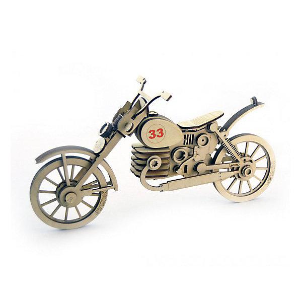 Деревянный  3D конструктор подвижный Мотоцикл 33, LemmoДеревянные конструкторы<br>Характеристики товара:<br><br>• количество деталей: 115;<br>• в комплекте: детали, клей ПВА, наждачная бумага, инструкция;<br>• материал: дерево;<br>• размер упаковки: 11х17х25 см;<br>• вес: 250 грамм;<br>• возраст: от 5 лет.<br>• страна производства: Россия<br><br>«Мотоцикл 33» - деревянный 3D конструктор, предназначенный для детей от пяти лет. Игра с конструктором способствует развитию моторики рук, логического, пространственного мышления, усидчивости и пространственного моделирования. Набор состоит из 115 деталей, клея ПВА, наждачной бумаги и подробной инструкции. Детали изготовлены из экологически чистой древесины, имеющей приятный, насыщенный запах дерева.<br><br>Готовая фигурка представляет собой мотоцикл с подвижными элементами. Колеса игрушки и руль крутятся, поэтому мотоцикл отлично дополнит коллекцию игрушек юного строителя. При желании мотоцикл можно окрасить гуашью или акриловыми красками.<br><br>Деревянный  3D конструктор подвижный Мотоцикл 33, Lemmo (Леммо) можно купить в нашем интернет-магазине.