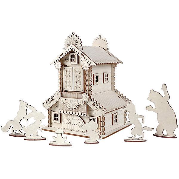 Lemmo Деревянный 3D конструктор подвижный Теремок, Lemmo конструктор деревянный теремок избушка теремок с куклой и мебелью