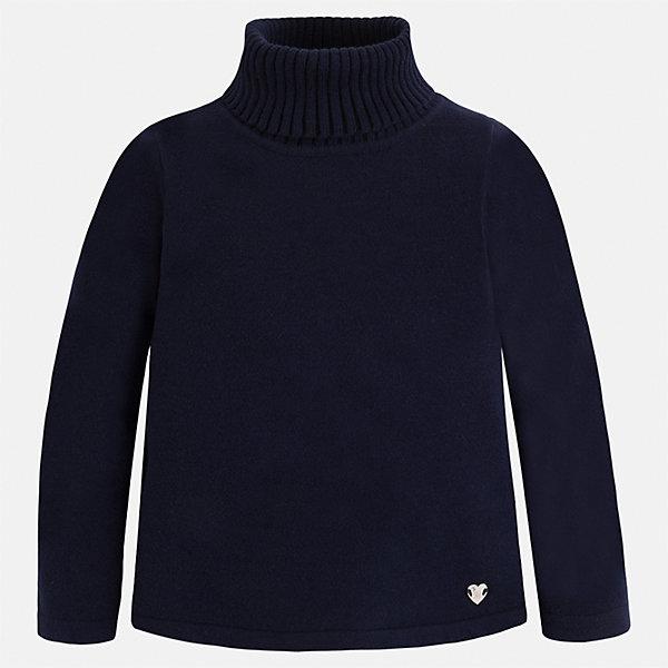 Водолазка Mayoral для девочкиВодолазки<br>Характеристики товара:<br><br>• цвет: черный<br>• состав ткани: 80% хлопок, 17% полиамид, 3% эластан<br>• сезон: демисезон<br>• особенности: высокий ворот<br>• длинные рукава<br>• страна бренда: Испания<br>• страна изготовитель: Индия<br><br>Однотонный свитер для девочки Mayoral удобно сидит по фигуре. Этот детский свитер сделан из приятного на ощупь материала. Отличный способ обеспечить ребенку комфорт и аккуратный внешний вид - надеть детский свитер от Mayoral. <br><br>Свитер для девочки Mayoral (Майорал) можно купить в нашем интернет-магазине.<br>Ширина мм: 190; Глубина мм: 74; Высота мм: 229; Вес г: 236; Цвет: темно-синий; Возраст от месяцев: 84; Возраст до месяцев: 96; Пол: Женский; Возраст: Детский; Размер: 128,92,134,122,116,110,104,98; SKU: 6919953;