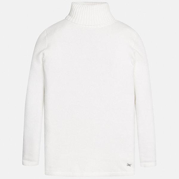 Водолазка Mayoral для девочкиВодолазки<br>Характеристики товара:<br><br>• цвет: белый<br>• состав ткани: 80% хлопок, 17% полиамид, 3% эластан<br>• сезон: демисезон<br>• особенности: высокий ворот<br>• длинные рукава<br>• страна бренда: Испания<br>• страна изготовитель: Индия<br><br>Белый свитер для девочки Mayoral удобно сидит по фигуре. Этот детский свитер сделан из дышащего эластичного материала. Простой способ обеспечить ребенку комфорт и аккуратный внешний вид - надеть детский свитер от Mayoral. <br><br>Свитер для девочки Mayoral (Майорал) можно купить в нашем интернет-магазине.<br>Ширина мм: 190; Глубина мм: 74; Высота мм: 229; Вес г: 236; Цвет: белый; Возраст от месяцев: 156; Возраст до месяцев: 168; Пол: Женский; Возраст: Детский; Размер: 164,140,170,128/134,158,152; SKU: 6920014;