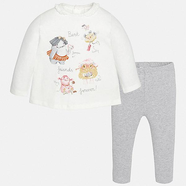 Комплект: футболка с длинным рукавом и леггинсы для девочки MayoralКомплекты<br>Характеристики товара:<br><br>• цвет: серый<br>• состав ткани: 92% хлопок, 8% эластан<br>• комплект: лонгслив и леггинсы<br>• сезон: демисезон<br>• особенности: принт с блестками<br>• пояс: резинка<br>• длинные рукава<br>• застежка: кнопки<br>• страна бренда: Испания<br>• страна изготовитель: Индия<br><br>Хлопковые лонгслив и леггинсы для девочки отлично сочетаются между собой, а также с другими вещами. Такой практичный и модный детский комплект из лонгслива и леггинсов для девочки подойдет для любых мероприятий. Детские леггинсы с юбкой сшиты из приятного на ощупь материала. Лонгслив для девочки Mayoral удобно сидит по фигуре. <br><br>Комплект: лонгслив и леггинсы для девочкиMayoral (Майорал) можно купить в нашем интернет-магазине.<br>Ширина мм: 123; Глубина мм: 10; Высота мм: 149; Вес г: 209; Цвет: серый; Возраст от месяцев: 6; Возраст до месяцев: 9; Пол: Женский; Возраст: Детский; Размер: 74,98,92,86,80; SKU: 6920583;