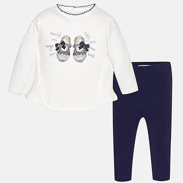 Комплект: футболка с длинным рукавом и леггинсы Mayoral для девочкиКомплекты<br>Характеристики товара:<br><br>• цвет: синий<br>• состав ткани: 92% хлопок, 8% эластан<br>• комплект: лонгслив и леггинсы<br>• сезон: демисезон<br>• особенности: принт с блестками<br>• пояс: резинка<br>• длинные рукава<br>• застежка: кнопки<br>• страна бренда: Испания<br>• страна изготовитель: Индия<br><br>Такие лонгслив и леггинсы для девочки отлично сочетаются между собой, а также с другими вещами. Такой практичный и модный детский комплект из лонгслива и леггинсов для девочки подойдет для любых мероприятий. Детские леггинсы однотонные, сшиты из приятного на ощупь материала. Лонгслив для девочки Mayoral удобно сидит по фигуре. <br><br>Комплект: лонгслив и леггинсы для девочкиMayoral (Майорал) можно купить в нашем интернет-магазине.<br>Ширина мм: 123; Глубина мм: 10; Высота мм: 149; Вес г: 209; Цвет: синий; Возраст от месяцев: 6; Возраст до месяцев: 9; Пол: Женский; Возраст: Детский; Размер: 74,98,92,86,80; SKU: 6920601;