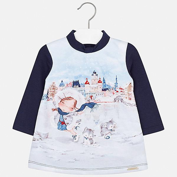 Платье для девочки MayoralОсенне-зимние платья и сарафаны<br>Характеристики товара:<br><br>• цвет: синий<br>• состав ткани: 40% хлопок, 55% полиэстер, 5% эластан, подкладка - 60% хлопок, 40% полиэстер<br>• сезон: демисезон<br>• особенности: принт<br>• застежка: кнопки<br>• длинные рукава<br>• страна бренда: Испания<br>• страна изготовитель: Индия<br><br>В симпатичном платье для девочки от Майорал ребенок будет выглядеть модно, а чувствовать себя - комфортно. Детское платье отличается модным и продуманным дизайном. Красивое платье для девочки от Майорал подарит ребенку комфорт. <br><br>Платье для девочки Mayoral (Майорал) можно купить в нашем интернет-магазине.<br>Ширина мм: 236; Глубина мм: 16; Высота мм: 184; Вес г: 177; Цвет: синий; Возраст от месяцев: 12; Возраст до месяцев: 15; Пол: Женский; Возраст: Детский; Размер: 80,86,74,98,92; SKU: 6920711;