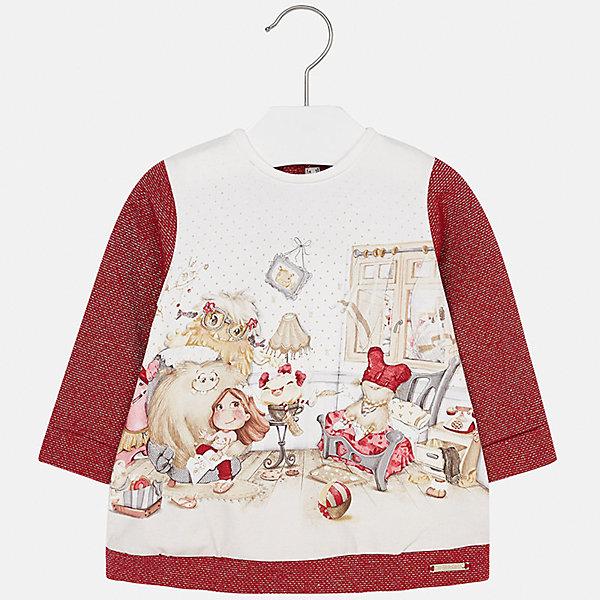 Платье для девочки MayoralПлатья и сарафаны<br>Характеристики товара:<br><br>• цвет: красный<br>• состав ткани: 65% хлопок, 25% полиэстер, 8% металлизированная нить, 2% эластан<br>• сезон: демисезон<br>• особенности: принт<br>• застежка: кнопки<br>• длинные рукава<br>• страна бренда: Испания<br>• страна изготовитель: Индия<br><br>Модное детское платье с принтом сделано из дышащего приятного на ощупь материала. Благодаря качественной ткани детского платья для девочки создаются комфортные условия для тела. Платье для девочки отличается стильным продуманным дизайном.<br><br>Платье для девочки Mayoral (Майорал) можно купить в нашем интернет-магазине.<br>Ширина мм: 236; Глубина мм: 16; Высота мм: 184; Вес г: 177; Цвет: красный; Возраст от месяцев: 6; Возраст до месяцев: 9; Пол: Женский; Возраст: Детский; Размер: 74,98,92,86,80; SKU: 6920807;