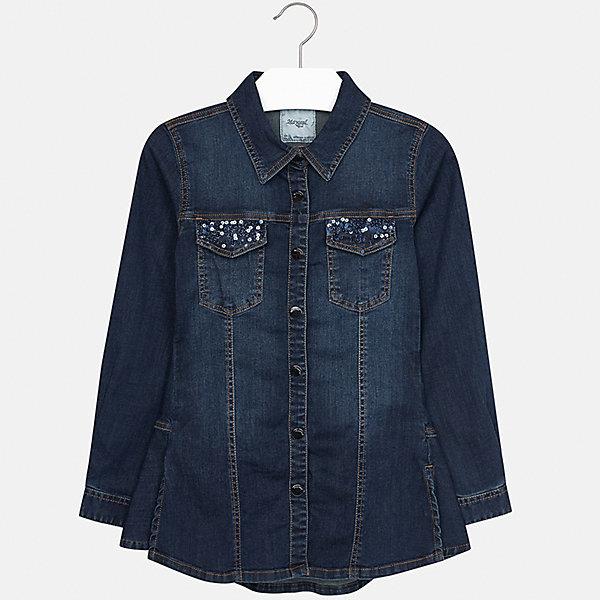 Рубашка джинсовая Mayoral для девочкиДжинсовая одежда<br>Характеристики товара:<br><br>• цвет: синий<br>• состав ткани: 98% хлопок, 2% эластан<br>• сезон: демисезон<br>• особенности модели: пайетки, отложной воротник<br>• застежка: кнопки<br>• длинные рукава<br>• страна бренда: Испания<br>• страна изготовитель: Китай<br><br>Такая джинсовая блузка для девочки Mayoral удобно сидит по фигуре. Стильная детская блузка с длинным рукавом сделана из дышащей ткани. Отличный способ обеспечить ребенку тепло и комфорт - надеть детскую блузку с длинным рукавом от Mayoral. Детская блузка сшита из приятного на ощупь материала. <br><br>Блузку Mayoral (Майорал) для девочки можно купить в нашем интернет-магазине.<br>Ширина мм: 186; Глубина мм: 87; Высота мм: 198; Вес г: 197; Цвет: синий деним; Возраст от месяцев: 156; Возраст до месяцев: 168; Пол: Женский; Возраст: Детский; Размер: 164,128/134,170,158,152,140; SKU: 6921725;
