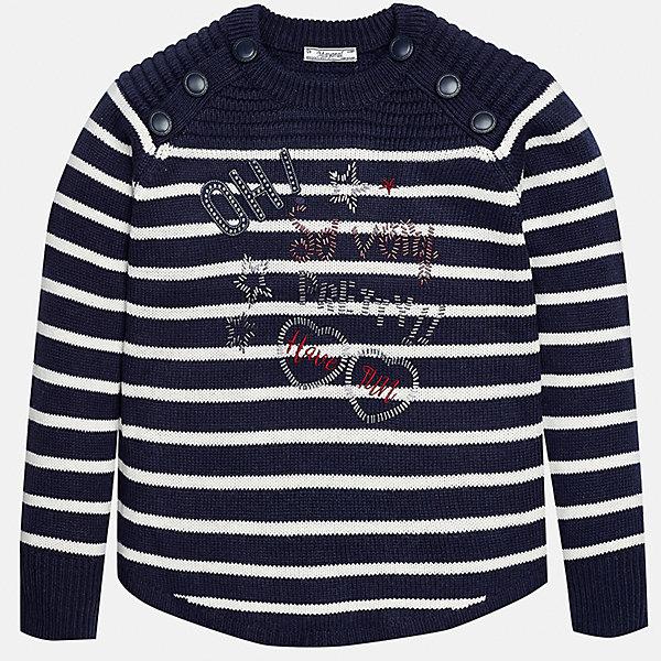 Свитер Mayoral для девочкиСвитера и кардиганы<br>Характеристики товара:<br><br>• цвет: синий<br>• состав ткани: 75% акрил, 25% полиамид<br>• длинные рукава<br>• сезон: круглый год<br>• страна бренда: Испания<br>• страна изготовитель: Индия<br><br>Модный и практичный свитер от известного испанского бренда Mayoral декорирован вышивкой и пуговицами на плечах. Детский свитер сделан из качественной пряжи.<br><br>Для производства детской одежды популярный бренд Mayoral используют только качественную фурнитуру и материалы. Оригинальные и модные вещи от Майорал неизменно привлекают внимание и нравятся детям.<br><br>Свитер для девочки Mayoral (Майорал) можно купить в нашем интернет-магазине.<br>Ширина мм: 190; Глубина мм: 74; Высота мм: 229; Вес г: 236; Цвет: синий; Возраст от месяцев: 96; Возраст до месяцев: 108; Пол: Женский; Возраст: Детский; Размер: 128/134,170,164,158,152,140; SKU: 6921774;