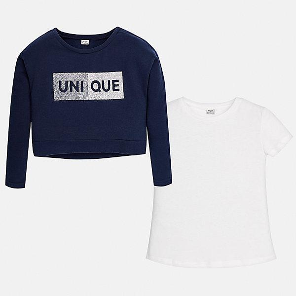 Толстовка Mayoral для девочкиТолстовки<br>Характеристики товара:<br><br>• цвет: синий<br>• состав ткани: 60% хлопок, 40% полиэстер, футболка - 100% хлопок<br>• комплектация: толстовка, футболка<br>• длинные рукава<br>• сезон: демисезон<br>• страна бренда: Испания<br>• страна изготовитель: Китай<br><br>Эта детская толстовка укороченного силуэта выделяется приятным на ощупь плотным материалом с преобладанием хлопка в составе. Отличный способ обеспечить ребенку тепло и комфорт - надеть модную толстовку от Mayoral. <br><br>Для производства детской одежды популярный бренд Mayoral использует только качественную фурнитуру и материалы. Оригинальные и модные вещи от Майорал неизменно привлекают внимание и нравятся детям.<br><br>Толстовку для девочки Mayoral (Майорал) можно купить в нашем интернет-магазине.<br>Ширина мм: 230; Глубина мм: 40; Высота мм: 220; Вес г: 250; Цвет: синий; Возраст от месяцев: 168; Возраст до месяцев: 180; Пол: Женский; Возраст: Детский; Размер: 170,128/134,164,158,152,140; SKU: 6921961;