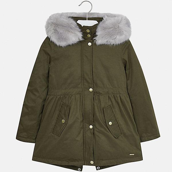 Куртка Mayoral для девочкиДемисезонные куртки<br>Характеристики товара:<br><br>• цвет: зеленый<br>• состав ткани: 90% полиэстер, 10% полиамид, подклад - 100% полиэстер, утеплитель - 100% полиэстер<br>• застежка: молния<br>• капюшон с опушкой<br>• сезон: демисезон<br>• температурный режим: от 0 до -10С<br>• страна бренда: Испания<br>• страна изготовитель: Индия<br><br>Зеленая утепленная куртка-парка для девочки от Майорал поможет обеспечить тепло и комфорт. Такая эффектная детская куртка имеет удобные карманы на кнопках и капюшон. <br><br>Для производства детской одежды популярный бренд Mayoral использует только качественную фурнитуру и материалы. Оригинальные и модные вещи от Майорал неизменно привлекают внимание и нравятся детям.<br><br>Куртку для девочки Mayoral (Майорал) можно купить в нашем интернет-магазине.<br>Ширина мм: 356; Глубина мм: 10; Высота мм: 245; Вес г: 519; Цвет: зеленый; Возраст от месяцев: 96; Возраст до месяцев: 108; Пол: Женский; Возраст: Детский; Размер: 128/134,170,164,158,152,140; SKU: 6922171;