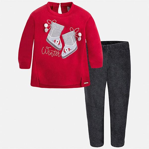 Комплект: блузка и леггинсы для девочки MayoralКомплекты<br>Характеристики товара:<br><br>• цвет: серый<br>• комплектация: блузка и леггинсы<br>• состав ткани леггинсов: 55% хлопок, 40% полиэстер, 5% эластан<br>• состав ткани блузки: 60% хлопок, 40% полиэстер<br>• длинные рукава<br>• застежка: пуговица<br>• пояс: резинка<br>• сезон: круглый год<br>• страна бренда: Испания<br>• страна изготовитель: Индия<br><br>Обеспечить ребенку комфорт поможет симпатичный комплект. Такой детский комплект от известного бренда Майорал состоит из трикотажной блузки с принтом и эластичных леггинсов. <br><br>Для производства детской одежды популярный бренд Mayoral использует только качественную фурнитуру и материалы. Оригинальные и модные вещи от Майорал неизменно привлекают внимание и нравятся детям.<br><br>Комплект: блузка и леггинсы для девочки Mayoral (Майорал) можно купить в нашем интернет-магазине.<br>Ширина мм: 123; Глубина мм: 10; Высота мм: 149; Вес г: 209; Цвет: красный; Возраст от месяцев: 96; Возраст до месяцев: 108; Пол: Женский; Возраст: Детский; Размер: 134,92,128,122,116,110,104,98; SKU: 6922751;