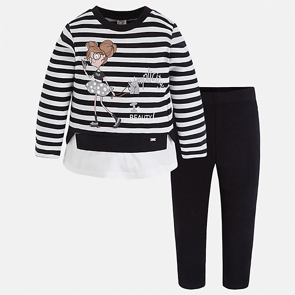 Комплект: футболка с длинным рукавом и леггинсы для девочки MayoralКомплекты<br>Характеристики товара:<br><br>• цвет: черный<br>• комплектация: футболка с длинным рукавом и леггинсы<br>• состав ткани леггинсов: 92% хлопок, 8% эластан<br>• состав ткани футболки с длинным рукавом: 75% хлопок, 20% полиэстер, 5% эластан<br>• длинные рукава<br>• пояс: резинка<br>• сезон: круглый год<br>• страна бренда: Испания<br>• страна изготовитель: Индия<br><br>Практичный и красивый комплект поможет подарить ребенку комфорт. Детский комплект от известного бренда Майорал состоит из мягкой футболки с принтом и эластичных леггинсов. <br><br>Для производства детской одежды популярный бренд Mayoral использует только качественную фурнитуру и материалы. Оригинальные и модные вещи от Майорал неизменно привлекают внимание и нравятся детям.<br><br>Комплект: футболка с длинным рукавом и леггинсы для девочки Mayoral (Майорал) можно купить в нашем интернет-магазине.<br>Ширина мм: 123; Глубина мм: 10; Высота мм: 149; Вес г: 209; Цвет: черный; Возраст от месяцев: 36; Возраст до месяцев: 48; Пол: Женский; Возраст: Детский; Размер: 104,92,122,116,110,98; SKU: 6922830;