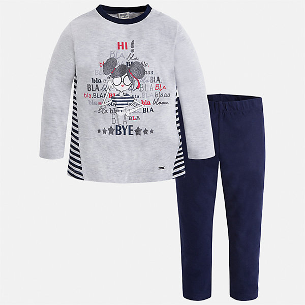 Комплект: футболка с длинным рукавом и леггинсы Mayoral для девочкиКомплекты<br>Характеристики товара:<br><br>• цвет: синий<br>• комплектация: футболка с длинным рукавом и леггинсы<br>• состав ткани леггинсов: 92% хлопок, 8% эластан<br>• состав ткани футболки с длинным рукавом: 60% хлопок, 32% полиэстер, 8% эластан<br>• длинные рукава<br>• пояс: резинка<br>• сезон: круглый год<br>• страна бренда: Испания<br>• страна изготовитель: Индия<br><br>Удобная детская футболка с длинным рукавом из этого комплекта украшена модным принтом. Модный детский комплект от известного бренда Майорал состоит из трикотажной футболки с длинным рукавом и эластичных леггинсов. <br><br>В одежде от испанской компании Майорал ребенок будет выглядеть модно, а чувствовать себя - комфортно. Целая команда европейских талантливых дизайнеров работает над созданием стильных и оригинальных моделей одежды.<br><br>Комплект: футболка с длинным рукавом для девочки Mayoral (Майорал) можно купить в нашем интернет-магазине.<br>Ширина мм: 123; Глубина мм: 10; Высота мм: 149; Вес г: 209; Цвет: синий; Возраст от месяцев: 18; Возраст до месяцев: 24; Пол: Женский; Возраст: Детский; Размер: 92,134,128,122,116,110,104,98; SKU: 6922846;