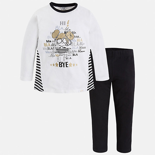 Купить со скидкой Комплект: футболка с длинным рукавом и леггинсы Mayoral для девочки