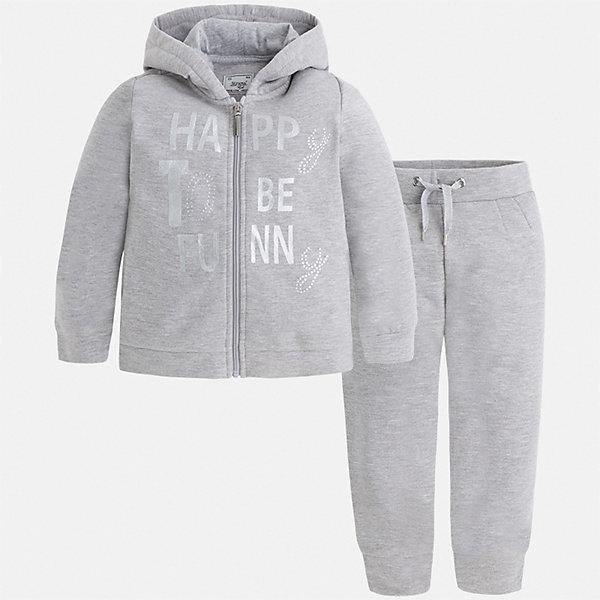 Спортивный костюм для девочки MayoralКомплекты<br>Характеристики товара:<br><br>• цвет: серый<br>• комплектация: курточка и брюки<br>• состав ткани курточки: 58% хлопок, 37% полиэстер, 3% эластан<br>• состав ткани брюк: 58% хлопок, 37% полиэстер, 3% эластан<br>• длинные рукава<br>• застежка: молния<br>• пояс: резинка и шнурок<br>• особенности модели: спортивный стиль<br>• сезон: круглый год<br>• страна бренда: Испания<br>• страна изготовитель: Индия<br><br>Костюм для занятий спортом может быть стильной и удобной. Этот спортивный костюм - отличный вариант одежды для отдыха и занятий спортом, он состоит из брюк и курточки с капюшоном.<br><br>В одежде от испанской компании Майорал ребенок будет выглядеть модно, а чувствовать себя - комфортно. Целая команда европейских талантливых дизайнеров работает над созданием стильных и оригинальных моделей одежды.<br><br>Спортивный костюм для девочки Mayoral (Майорал) можно купить в нашем интернет-магазине.<br>Ширина мм: 247; Глубина мм: 16; Высота мм: 140; Вес г: 225; Цвет: серый; Возраст от месяцев: 24; Возраст до месяцев: 36; Пол: Женский; Возраст: Детский; Размер: 98,92,134,128,122,116,110,104; SKU: 6923022;