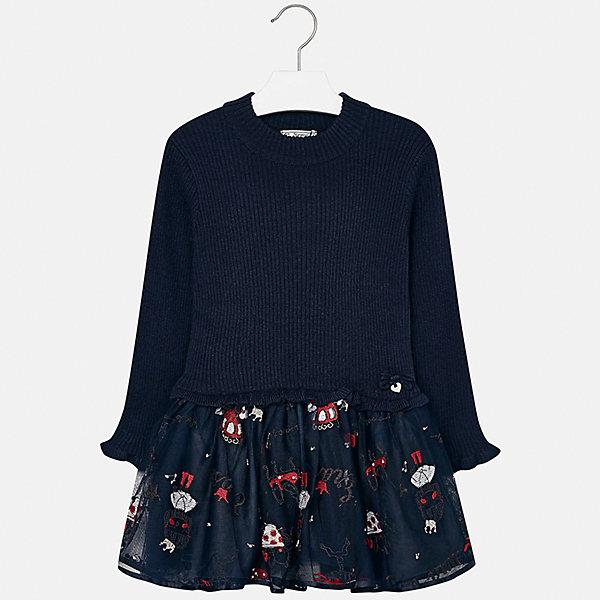 Платье для девочки MayoralПлатья и сарафаны<br>Характеристики товара:<br><br>• цвет: черный<br>• состав ткани: верх - 33% акрил, 33% полиамид, 31% полиэстер, 3% ангора; низ - 67% полиэстер, 33% хлопок<br>• сезон: круглый год<br>• длинные рукава<br>• комбинированный материал<br>• страна бренда: Испания<br>• страна изготовитель: Индия<br><br>Модная одежда от Mayoral поможет одеться удобно и красиво. Это платье для девочки из комбинированного материала отличается модным силуэтом с высокой талией. Детское платье от бренда Майорал поможет девочке выглядеть женственно и стильно. <br><br>Детская одежда от испанской компании Mayoral отличаются оригинальным и всегда стильным дизайном. Качество продукции неизменно очень высокое.<br><br>Платье для девочки Mayoral (Майорал) можно купить в нашем интернет-магазине.<br>Ширина мм: 236; Глубина мм: 16; Высота мм: 184; Вес г: 177; Цвет: темно-синий; Возраст от месяцев: 24; Возраст до месяцев: 36; Пол: Женский; Возраст: Детский; Размер: 98,134,128,122,116,110,104; SKU: 6923348;