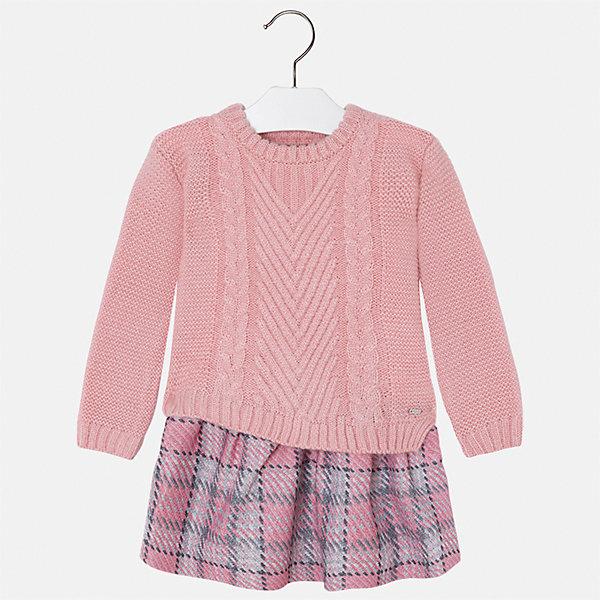 Платье для девочки MayoralПлатья и сарафаны<br>Характеристики товара:<br><br>• цвет: розовый<br>• состав ткани: верх - 40% акрил, 36% хлопок, 24% полиэстер; низ - 60% хлопок, 40% полиэстер<br>• сезон: круглый год<br>• длинные рукава<br>• комбинированный материал<br>• страна бренда: Испания<br>• страна изготовитель: Индия<br><br>Параметры изделия: <br>• Пройма рукава: 16 см<br>• Длина внешнего шва рукава: 48 см <br>• Длина платья: 70 см<br>• Длина спинки (от горловины до талии): 40 см<br>• Ширина от плеча до плеча: 34 см<br>• Ширина спинки от подмышки до подмышки: 41 см<br><br>Интересное детское платье от бренда Майорал поможет девочке выглядеть красиво и чувствовать себя комфортно. Такое детское платье отличается интересным фасоном и отделкой. <br><br>Для производства детской одежды популярный бренд Mayoral использует только качественную фурнитуру и материалы. Оригинальные и модные вещи от Майорал неизменно привлекают внимание и нравятся детям.<br><br>Платье для девочки Mayoral (Майорал) можно купить в нашем интернет-магазине.<br>Ширина мм: 236; Глубина мм: 16; Высота мм: 184; Вес г: 177; Цвет: розовый; Возраст от месяцев: 24; Возраст до месяцев: 36; Пол: Женский; Возраст: Детский; Размер: 98,134,128,122,116,110,104; SKU: 6923418;