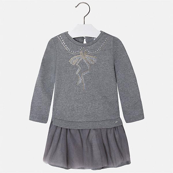 Платье для девочки MayoralПлатья и сарафаны<br>Характеристики товара:<br><br>• цвет: серый<br>• состав ткани: верх - 60% хлопок, 28% полиэстер, 12% полиамид, низ - 100% хлопок<br>• сезон: круглый год<br>• длинные рукава<br>• стразы<br>• застежка: пуговица<br>• страна бренда: Испания<br>• страна изготовитель: Индия<br><br>Стильная качественная детская одежда от Mayoral поможет детям выглядеть красиво. Это платье для девочки из комбинированного материала отличается стильным силуэтом и цветочным принтом. Детское платье от бренда Майорал поможет девочке выглядеть женственно и стильно. <br><br>Детская одежда от испанской компании Mayoral отличаются оригинальным и всегда стильным дизайном. Качество продукции неизменно очень высокое.<br><br>Платье для девочки Mayoral (Майорал) можно купить в нашем интернет-магазине.<br>Ширина мм: 236; Глубина мм: 16; Высота мм: 184; Вес г: 177; Цвет: серый; Возраст от месяцев: 18; Возраст до месяцев: 24; Пол: Женский; Возраст: Детский; Размер: 128,122,134,116,110,104,98,92; SKU: 6923500;
