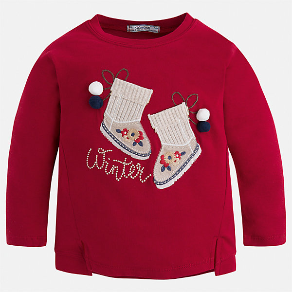 Футболка с длинным рукавом Mayoral для девочкиФутболки с длинным рукавом<br>Характеристики товара:<br><br>• цвет: красный<br>• состав ткани: 95% хлопок, 5% эластан<br>• сезон: круглый год<br>• длинные рукава<br>• страна бренда: Испания<br>• страна изготовитель: Китай<br><br>Эта футболка отличается свободным силуэтом и интересной отделкой. Стильная футболка с длинным рукавом для девочки от бренда Майорал поможет девочке выглядеть модно и чувствовать себя комфортно. <br><br>Для производства детской одежды популярный бренд Mayoral использует только качественную фурнитуру и материалы. Оригинальные и модные вещи от Майорал неизменно привлекают внимание и нравятся детям.<br><br>Футболку с длинным рукавом для девочки Mayoral (Майорал) можно купить в нашем интернет-магазине.<br>Ширина мм: 230; Глубина мм: 40; Высота мм: 220; Вес г: 250; Цвет: красный; Возраст от месяцев: 96; Возраст до месяцев: 108; Пол: Женский; Возраст: Детский; Размер: 134,98,128,122,116,110,104; SKU: 6923878;