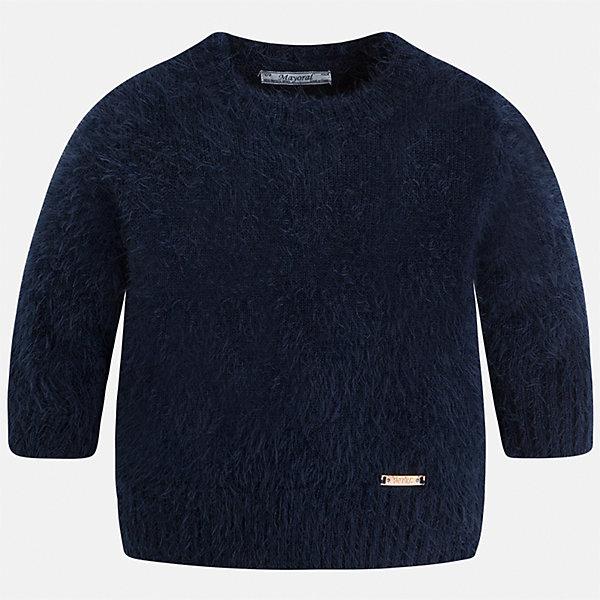 Свитер Mayoral для девочкиСвитера и кардиганы<br>Характеристики товара:<br><br>• цвет: черный<br>• состав ткани: 62% полиамид, 38% акрил<br>• сезон: круглый год<br>• манжеты<br>• длинные рукава<br>• страна бренда: Испания<br>• страна изготовитель: Индия<br><br>Модный черный свитер от Майорал - это пример отличного вкуса. Он сделан из приятной на ощупь пряжи. Такой свитер для девочки обеспечит ребенку комфорт и стильный внешний вид. <br><br>В одежде от испанской компании Майорал ребенок будет выглядеть модно, а чувствовать себя - комфортно. Целая команда европейских талантливых дизайнеров работает над созданием стильных и оригинальных моделей одежды.<br><br>Свитер для девочки Mayoral (Майорал) можно купить в нашем интернет-магазине.<br>Ширина мм: 190; Глубина мм: 74; Высота мм: 229; Вес г: 236; Цвет: темно-синий; Возраст от месяцев: 18; Возраст до месяцев: 24; Пол: Женский; Возраст: Детский; Размер: 92,134,128,122,116,110,104,98; SKU: 6924139;