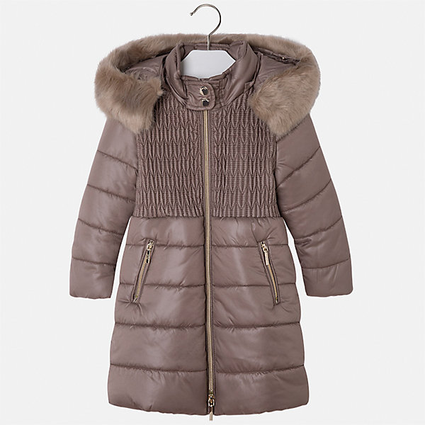 Куртка для девочки MayoralВерхняя одежда<br>Характеристики товара:<br><br>• цвет: бежевый<br>• состав ткани: 100% полиэстер, подклад - 100% полиэстер, утеплитель - 100% полиэстер<br>• застежка: молния<br>• съемный капюшон<br>• карманы<br>• сезон: демисезон<br>• температурный режим: от 0 до -10С<br>• страна бренда: Испания<br>• страна изготовитель: Китай<br><br>Эта практичная и красивая куртка обеспечит ребенку тепло в межсезонье и небольшие морозы. Капюшон не ней отстегивается. Куртка от Mayoral соответствует новейшим тенденциям молодежной моды. <br><br>Детская одежда от испанской компании Mayoral отличаются оригинальным и всегда стильным дизайном. Качество продукции неизменно очень высокое.<br><br>Куртку для девочки Mayoral (Майорал) можно купить в нашем интернет-магазине.<br>Ширина мм: 356; Глубина мм: 10; Высота мм: 245; Вес г: 519; Цвет: коричневый; Возраст от месяцев: 84; Возраст до месяцев: 96; Пол: Женский; Возраст: Детский; Размер: 128,116,134,122,110,104,98; SKU: 6924605;