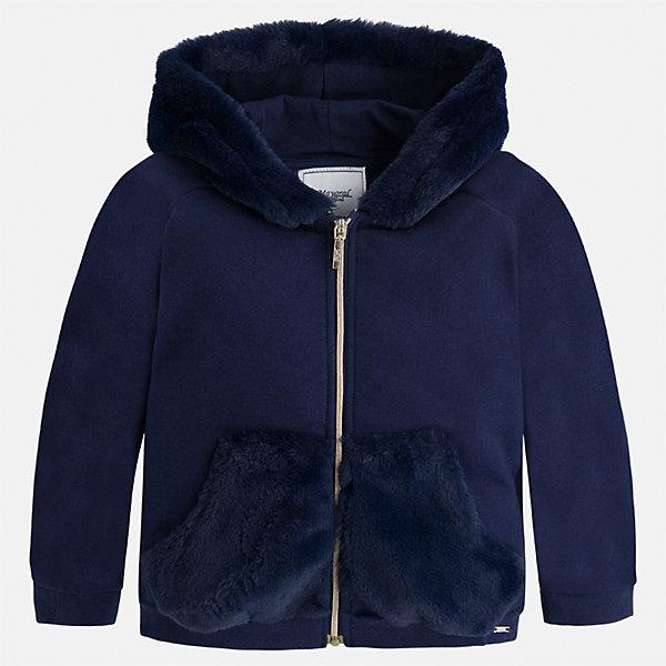 Куртка для девочки MayoralВерхняя одежда<br>Характеристики товара:<br><br>• цвет: синий<br>• состав ткани: 67% хлопок, 30% полиэстер, 3% эластан<br>• застежка: молния<br>• капюшон<br>• карманы<br>• сезон: демисезон<br>• температурный режим: от +5 до +15<br>• страна бренда: Испания<br>• страна изготовитель: Китай<br><br>Эта куртка от Mayoral красиво отделана искусственным мехом. Она соответствует новейшим тенденциям молодежной моды. Эффектная куртка обеспечит ребенку тепло в межсезонье и небольшие морозы. Капюшон не ней отстегивается. <br><br>Детская одежда от испанской компании Mayoral отличаются оригинальным и всегда стильным дизайном. Качество продукции неизменно очень высокое.<br><br>Куртку для девочки Mayoral (Майорал) можно купить в нашем интернет-магазине.<br>Ширина мм: 356; Глубина мм: 10; Высота мм: 245; Вес г: 519; Цвет: синий; Возраст от месяцев: 36; Возраст до месяцев: 48; Пол: Женский; Возраст: Детский; Размер: 104,98,92,134,128,122,116,110; SKU: 6924691;