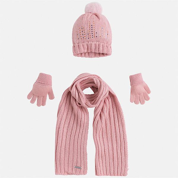 Комплект: шапка, шарф и перчатки для девочки MayoralДемисезонные<br>Характеристики товара:<br><br>• цвет: розовый<br>• состав ткани: 100% акрил<br>• сезон: демисезон<br>• комплектация: шапка, шарф, перчатки<br>• страна бренда: Испания<br>• страна изготовитель: Индия<br><br>Розовый демисезонный детский набор смотрится аккуратно и стильно. Симпатичные шапка, шарф и перчатки для девочки от популярного бренда Mayoral отличаются нарядным декором. <br><br>Для производства детской одежды популярный бренд Mayoral используют только качественную фурнитуру и материалы. Оригинальные и модные вещи от Майорал неизменно привлекают внимание и нравятся детям.<br><br>Комплект: шапка, шарф и перчатки для девочки Mayoral (Майорал) можно купить в нашем интернет-магазине.<br>Ширина мм: 89; Глубина мм: 117; Высота мм: 44; Вес г: 155; Цвет: розовый; Возраст от месяцев: 72; Возраст до месяцев: 84; Пол: Женский; Возраст: Детский; Размер: 54,50,52; SKU: 6925635;