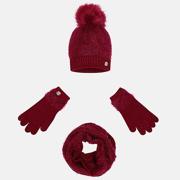 Комплект: шапка, шарф и перчатки Mayoral для девочкиШарфы, платки<br>Характеристики товара:<br><br>• цвет: красный<br>• состав ткани: 86% полиамид, 14% акрил<br>• сезон: демисезон<br>• комплектация: шапка, шарф, перчатки<br>• страна бренда: Испания<br>• страна изготовитель: Индия<br><br>Демисезонный набор для детей смотрится аккуратно и стильно. Красный модный комплект - вязаные шапка, шарф и перчатки для девочки от популярного бренда Mayoral - отличается пушистой фактурой. <br><br>В одежде от испанской компании Майорал ребенок будет выглядеть модно, а чувствовать себя - комфортно. Целая команда европейских талантливых дизайнеров работает над созданием стильных и оригинальных моделей одежды. <br><br>Комплект: шапка, шарф и перчатки для девочки Mayoral (Майорал) можно купить в нашем интернет-магазине.<br>Ширина мм: 89; Глубина мм: 117; Высота мм: 44; Вес г: 155; Цвет: красный; Возраст от месяцев: 72; Возраст до месяцев: 84; Пол: Женский; Возраст: Детский; Размер: 54,52,56; SKU: 6925708;