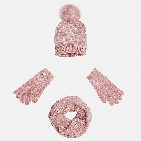 Комплект: шапка, шарф и перчатки для девочки MayoralКомплекты<br>Характеристики товара:<br><br>• цвет: розовый<br>• состав ткани: 86% полиамид, 14% акрил<br>• сезон: демисезон<br>• комплектация: шапка, шарф, перчатки<br>• страна бренда: Испания<br>• страна изготовитель: Индия<br><br>Розовый детский комплект смотрится аккуратно и стильно. Симпатичные шапка, шарф и перчатки для девочки от популярного бренда Mayoral поможет дополнить наряд и обеспечить комфорт в прохладную погоду. <br><br>Для производства детской одежды популярный бренд Mayoral используют только качественную фурнитуру и материалы. Оригинальные и модные вещи от Майорал неизменно привлекают внимание и нравятся детям.<br><br>Комплект: шапка, шарф и перчатки для девочки Mayoral (Майорал) можно купить в нашем интернет-магазине.<br>Ширина мм: 89; Глубина мм: 117; Высота мм: 44; Вес г: 155; Цвет: розовый; Возраст от месяцев: 48; Возраст до месяцев: 60; Пол: Женский; Возраст: Детский; Размер: 52,54,56; SKU: 6925716;