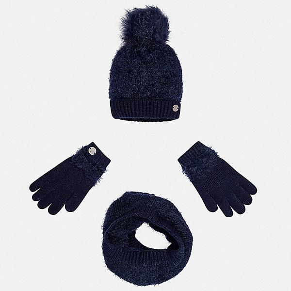 Mayoral Комплект: шапка, шарф и перчатки для девочки Mayoral варежки перчатки и шарфы coccodrillo шарф для девочки love cats