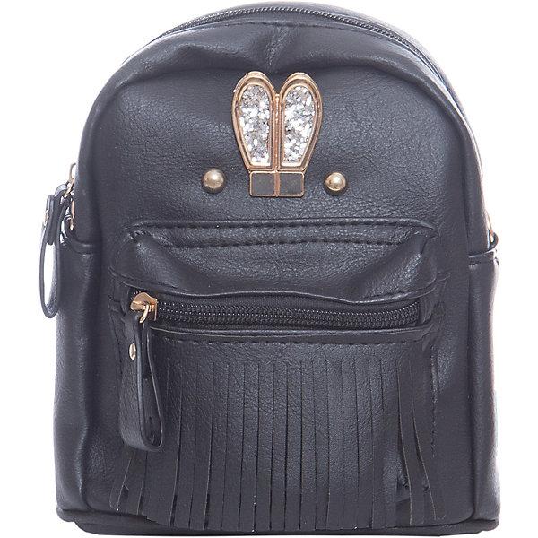 Рюкзак для девочки VitacciРюкзаки<br>Характеристики товара:<br><br>• цвет: черный;<br>• материал: искусственная кожа;<br>• особенности: кожаный, со стразами, с бахромой;<br>• застежка: молния;<br>• количество отделений: 1;<br>• внутренний карман на молнии;<br>• плечевые лямки регулируются по длине;<br>• вес: 200 гр;<br>• размер: 21х5х21 см;<br>• страна бренда: Италия;<br>• страна производства: Китай.<br><br>Рюкзак для девочки застегивается на молнию. Внутри одно отделение и карман на молнии. Плечевые ремни регулируются. Спереди рисунок в виде мордашки зайки, ушки с блестками и бахрома.<br><br>Рюкзак Vitacci (Витачи) можно купить в нашем интернет-магазине.<br>Ширина мм: 170; Глубина мм: 157; Высота мм: 67; Вес г: 117; Цвет: черный; Возраст от месяцев: 48; Возраст до месяцев: 144; Пол: Женский; Возраст: Детский; Размер: one size; SKU: 6927112;