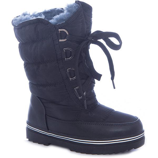 Дутики VitacciДутики<br>Характеристики товара:<br><br>• цвет: черный;<br>• внешний материал: текстиль, полиуретан;<br>• внутренний материал: натуральная шерсть;<br>• стелька: натуральная шерсть;<br>• подошва: ТПУ;<br>• сезон: зима;<br>• температурный режим: от 0 до -25С;<br>• застежка: шнурки-утяжки;<br>• высота подошвы: 2,5 см;<br>• усиленный защищенный мыс и пятка; <br>• страна бренда: Италия;<br>• страна производства: Китай.<br><br>Зимние сапоги-дутики для девочки. Дутики застегиваются на шнурки, которые регулируют обхват голенища. Стелька и внутренний материал из натуральной шерсти, что делает сапоги очень теплыми. Высокая платформа, 2,5 см не пропускает холод снизу. Мыс и пятка покрыты дополнительным износостойким материалом из полиуретана.<br><br>Дутики Vitacci (Витачи) можно купить в нашем интернет-магазине.