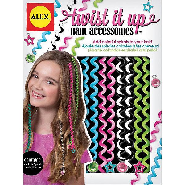 Украшения для волос Alex Twist it upНаборы детской косметики<br>Характеристики:<br><br>• возраст: от 7 лет<br>• в наборе: 4 спирали для волос, 4 резиночки<br>• размер упаковки: 15,2х20,3х4,5 см.<br>• вес: 124 гр.<br><br>Оригинальные модные украшения на пряди волос добавят шик и блеск прическе. Цветные спирали с декоративными подвесками на концах перевивают небольшие пряди, создавая неповторимый и эффектный образ.<br><br>Набор для создания украшений для волос, от 7 лет можно купить в нашем интернет-магазине.<br>Ширина мм: 15; Глубина мм: 4; Высота мм: 20; Вес г: 190; Возраст от месяцев: 84; Возраст до месяцев: 2147483647; Пол: Женский; Возраст: Детский; SKU: 6930924;