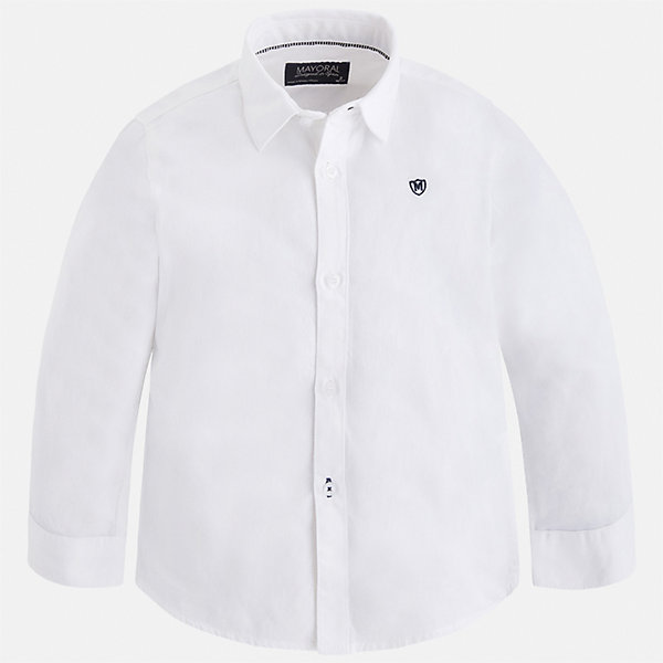 Рубашка Mayoral для мальчикаБлузки и рубашки<br>Характеристики товара:<br><br>• цвет: белый;<br>• состав ткани: 100% хлопок;<br>• длинный рукав;<br>• однотонная;<br>• школа;<br>• сезон: круглый год;<br>• страна бренда: Испания;<br>• страна изготовитель: Индия.<br><br>Рубашка для мальчика от популярного бренда Mayoral из натурального 100% хлопка, декорирована вышивкой в виде логотипа на груди. Очень практичная и долгая в носке, цвет нетускнеет. Рубашку можно  комбинировать как с брюками так и с джинсами, смотрится аккуратно и стильно.<br><br>Для производства детской одежды популярный бренд Mayoral используют только качественную фурнитуру и материалы. Оригинальные и модные вещи от Майорал неизменно привлекают внимание и нравятся детям.<br><br>Рубашку  для мальчика Mayoral (Майорал) можно купить в нашем интернет-магазине.<br>Ширина мм: 174; Глубина мм: 10; Высота мм: 169; Вес г: 157; Цвет: белый; Возраст от месяцев: 18; Возраст до месяцев: 24; Пол: Мужской; Возраст: Детский; Размер: 92,134,128,122,116,110,104,98; SKU: 6931670;