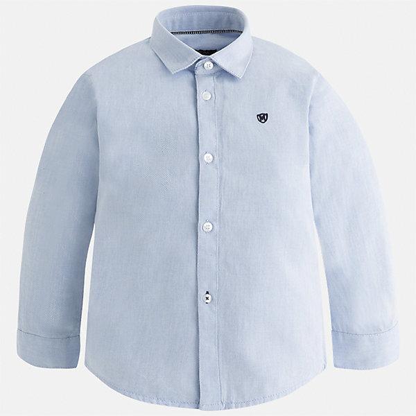 Рубашка Mayoral для мальчикаБлузки и рубашки<br>Характеристики товара:<br><br>• цвет: голубой;<br>• состав ткани: 100% хлопок;<br>• длинный рукав;<br>• однотонная;<br>• школа;<br>• сезон: круглый год;<br>• страна бренда: Испания;<br>• страна изготовитель: Индия.<br><br>Рубашка для мальчика от популярного бренда Mayoral из натурального 100% хлопка, декорирована вышивкой в виде логотипа на груди. Очень практичная и долгая в носке, цвет нетускнеет, смотрится аккуратно и стильно. <br><br>Для производства детской одежды популярный бренд Mayoral используют только качественную фурнитуру и материалы. Оригинальные и модные вещи от Майорал неизменно привлекают внимание и нравятся детям.<br><br>Рубашку  для мальчика Mayoral (Майорал) можно купить в нашем интернет-магазине.<br>Ширина мм: 174; Глубина мм: 10; Высота мм: 169; Вес г: 157; Цвет: голубой; Возраст от месяцев: 18; Возраст до месяцев: 24; Пол: Мужской; Возраст: Детский; Размер: 92,134,128,122,116,110,104,98; SKU: 6931679;