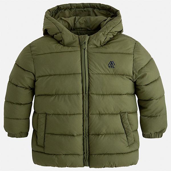 Куртка Mayoral для мальчикаВерхняя одежда<br>Характеристики товара:<br><br>• цвет: зеленый;<br>• сезон: демисезон;<br>• состав ткани: 100% полиэстер;<br>• состав подкладки: 100% полиэстер;<br>• стеганая;<br>• капюшон: без меха, не отстегивается;<br>• страна бренда: Испания;<br>• страна изготовитель: Бангладеш.<br><br>Демисезонная куртка для мальчика от популярного бренда Mayoral несомненно понравится вам и вашему ребенку. Качественные ткани, безупречное исполнение, все модели в центре модных тенденций. Внешняя ткань плащевая, подкладка из флиса, аккуратные швы. Рукава на внутренней манжете. Застегивается на замок-молнию, капюшон не отстегивается. <br><br>Легкая и теплая куртка с капюшоном и карманами на холодную осень-весну. Грамотный крой изделия обеспечивает отличную посадку по фигуре.<br><br>Куртку  для мальчика Mayoral (Майорал) можно купить в нашем интернет-магазине.<br>Ширина мм: 356; Глубина мм: 10; Высота мм: 245; Вес г: 519; Цвет: зеленый; Возраст от месяцев: 18; Возраст до месяцев: 24; Пол: Мужской; Возраст: Детский; Размер: 92,134,128,122,116,110,104,98; SKU: 6931900;