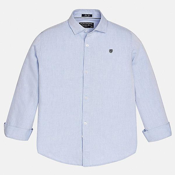 Рубашка для мальчика MayoralБлузки и рубашки<br>Характеристики товара:<br><br>• цвет: голубой;<br>• состав ткани: 100% хлопок;<br>• длинный рукав;<br>• однотонная<br>• сезон: круглый год;<br>•  школьная;<br>• страна бренда: Испания;<br>• страна изготовитель: Индия.<br><br>Рубашка для мальчика от популярного бренда Mayoral из натурального 100% хлопка, декорирована вышивкой в виде логотипа на груди. Очень практичная и долгая в носке, цвет нетускнеет. Благодаря акктуальною крою slim fit (немного зауженной к низу), можно носить как заправленную в брюки, так и на выпуск, смотрится аккуратно и стильно. <br><br>Для производства детской одежды популярный бренд Mayoral используют только качественную фурнитуру и материалы. Оригинальные и модные вещи от Майорал неизменно привлекают внимание и нравятся детям.<br><br>Рубашку  для мальчика Mayoral (Майорал) можно купить в нашем интернет-магазине.<br>Ширина мм: 174; Глубина мм: 10; Высота мм: 169; Вес г: 157; Цвет: голубой; Возраст от месяцев: 156; Возраст до месяцев: 168; Пол: Мужской; Возраст: Детский; Размер: 128/134,170,158,164,152,140; SKU: 6932265;