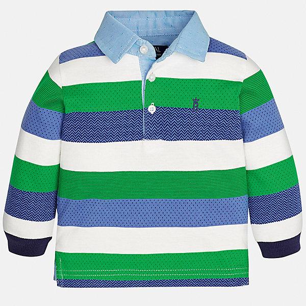 Футболка-поло с длинным рукавом Mayoral для мальчикаФутболки, топы<br>Характеристики товара:<br><br>• цвет: зеленый в полоску;<br>• состав ткани: 89% хлопок, 11% полиэстер;<br>• длинный рукав;<br>• вышивка на груди;<br>• воротник на пуговицах;<br>• сезон: демисезон;<br>• страна бренда: Испания;<br>• страна изготовитель: Индия.<br><br>Рубашка-поло с длинными рукавами для мальчика от популярного бренда Mayoral  выполнена из натурального хлопка с незначительным добавление полиэстра, ткань эластичная и приятная на ощупь. Модель белого цвета в сине-зеленую полоску декорирована маленьким принтом  виде вышивки на груди и голубым воротничком на пуговицах. <br><br>Рубашка-поло в контрастную полоску будет смотрется нарядно, аккуратно и стильно. Идеально подойдет для повседневной одежды  для дома, сада, улицы и школы.<br><br>Для производства детской одежды популярный бренд Mayoral используют только качественную фурнитуру и материалы. Оригинальные и модные вещи от Майорал неизменно привлекают внимание и нравятся детям.<br><br>Рубашка-поло с длинными рукавами для мальчика Mayoral (Майорал) можно купить в нашем интернет-магазине.<br>Ширина мм: 230; Глубина мм: 40; Высота мм: 220; Вес г: 250; Цвет: зеленый; Возраст от месяцев: 6; Возраст до месяцев: 9; Пол: Мужской; Возраст: Детский; Размер: 74,98,92,86,80; SKU: 6932480;