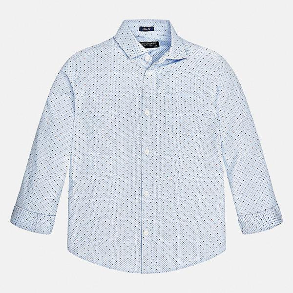 Рубашка Mayoral для мальчикаБлузки и рубашки<br>Характеристики товара:<br><br>• цвет: голубой<br>• состав ткани: 100% хлопок<br>• сезон: демисезон<br>• особенности модели: школьная<br>• застежка: пуговицы<br>• длинные рукава<br>• страна бренда: Испания<br>• страна изготовитель: Индия<br><br>Голубая рубашка с длинным рукавом для мальчика от Майорал поможет обеспечить ребенку комфорт. Детская рубашка отличается стильным и продуманным дизайном. В рубашке для мальчика от испанской компании Майорал ребенок будет выглядеть модно, а чувствовать себя - комфортно. <br><br>Рубашку для мальчика Mayoral (Майорал) можно купить в нашем интернет-магазине.<br>Ширина мм: 174; Глубина мм: 10; Высота мм: 169; Вес г: 157; Цвет: голубой; Возраст от месяцев: 168; Возраст до месяцев: 180; Пол: Мужской; Возраст: Детский; Размер: 170,128/134,164,158,152,140; SKU: 6933542;
