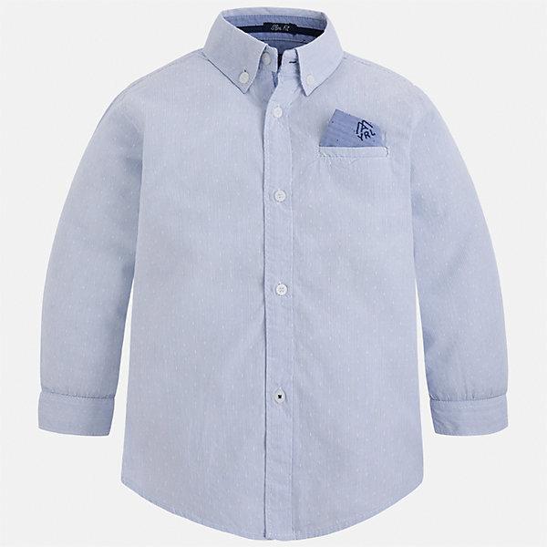 Рубашка для мальчика MayoralБлузки и рубашки<br>Характеристики товара:<br><br>• цвет: голубой<br>• состав ткани: 100% хлопок<br>• сезон: демисезон<br>• особенности модели: школьная<br>• застежка: пуговицы<br>• длинные рукава<br>• страна бренда: Испания<br>• страна изготовитель: Индия<br><br>Классическая рубашка с длинным рукавом для мальчика от Майорал поможет обеспечить ребенку комфорт. Детская рубашка отличается стильным и продуманным дизайном. В рубашке для мальчика от испанской компании Майорал ребенок будет выглядеть модно, а чувствовать себя - комфортно. <br><br>Рубашку для мальчика Mayoral (Майорал) можно купить в нашем интернет-магазине.<br>Ширина мм: 174; Глубина мм: 10; Высота мм: 169; Вес г: 157; Цвет: голубой; Возраст от месяцев: 48; Возраст до месяцев: 60; Пол: Мужской; Возраст: Детский; Размер: 110,134,128,122,116,104,98,92; SKU: 6934066;
