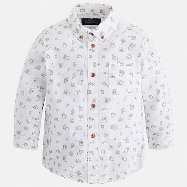 Рубашка Mayoral для мальчикаБлузки и рубашки<br>Характеристики товара:<br><br>• цвет: белый<br>• состав ткани: 100% хлопок<br>• сезон: демисезон<br>• особенности модели: школьная<br>• застежка: пуговицы<br>• длинные рукава<br>• страна бренда: Испания<br>• страна изготовитель: Индия<br><br>Оригинальная рубашка с длинным рукавом для мальчика Mayoral удобно сидит по фигуре. Стильная детская рубашка сделана из натуральной хлопковой ткани. Отличный способ обеспечить ребенку комфорт и аккуратный внешний вид - надеть детскую рубашку от Mayoral. Детская рубашка с длинным рукавом сшита из приятного на ощупь материала. <br><br>Рубашку для мальчика Mayoral (Майорал) можно купить в нашем интернет-магазине.<br>Ширина мм: 174; Глубина мм: 10; Высота мм: 169; Вес г: 157; Цвет: белый; Возраст от месяцев: 18; Возраст до месяцев: 24; Пол: Мужской; Возраст: Детский; Размер: 92,134,128,122,116,110,104,98; SKU: 6934111;
