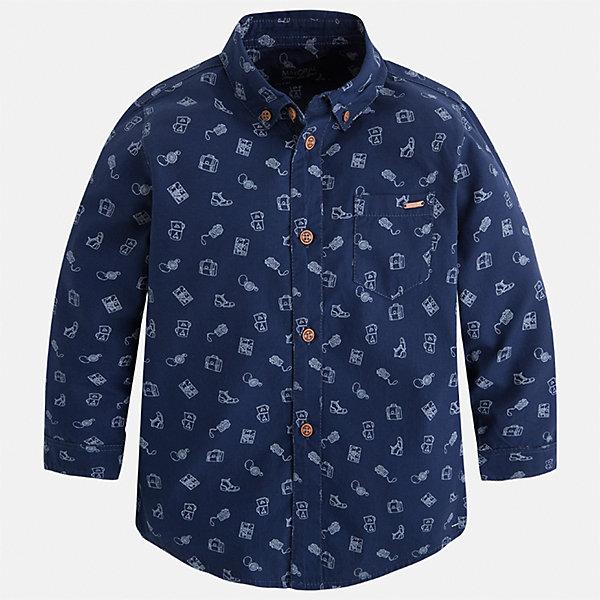 Рубашка Mayoral для мальчикаБлузки и рубашки<br>Характеристики товара:<br><br>• цвет: синий<br>• состав ткани: 100% хлопок<br>• сезон: демисезон<br>• особенности модели: школьная<br>• застежка: пуговицы<br>• длинные рукава<br>• страна бренда: Испания<br>• страна изготовитель: Индия<br><br>Такая рубашка с длинным рукавом для мальчика от Майорал поможет обеспечить ребенку комфорт. Детская рубашка отличается стильным и продуманным дизайном. В рубашке для мальчика от испанской компании Майорал ребенок будет выглядеть модно, а чувствовать себя - комфортно. <br><br>Рубашку для мальчика Mayoral (Майорал) можно купить в нашем интернет-магазине.<br>Ширина мм: 174; Глубина мм: 10; Высота мм: 169; Вес г: 157; Цвет: синий; Возраст от месяцев: 18; Возраст до месяцев: 24; Пол: Мужской; Возраст: Детский; Размер: 92,134,128,122,116,110,104,98; SKU: 6934120;