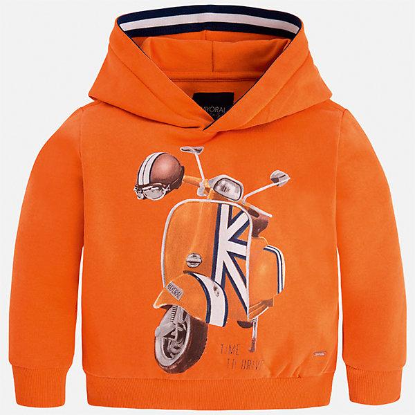 Толстовка Mayoral для мальчикаТолстовки<br>Характеристики товара:<br><br>• цвет: оранжевый<br>• состав ткани: 100% хлопок<br>• сезон: демисезон<br>• особенности модели: капюшон<br>• карманы<br>• длинные рукава<br>• страна бренда: Испания<br>• страна изготовитель: Индия<br><br>Толстовка для мальчика от Майорал поможет обеспечить ребенку комфорт и тепло. Детская толстовка с капюшоном отличается модным и продуманным дизайном. В толстовке для мальчика от испанской компании Майорал ребенок будет выглядеть модно, а чувствовать себя - комфортно. <br><br>Толстовку для мальчика Mayoral (Майорал) можно купить в нашем интернет-магазине.<br>Ширина мм: 230; Глубина мм: 40; Высота мм: 220; Вес г: 250; Цвет: оранжевый; Возраст от месяцев: 18; Возраст до месяцев: 24; Пол: Мужской; Возраст: Детский; Размер: 92,134,128,122,116,110,104,98; SKU: 6934396;