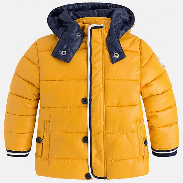 Куртка для мальчика MayoralВерхняя одежда<br>Характеристики товара:<br><br>• цвет: оранжевый<br>• состав ткани: 100% полиэстер<br>• подкладка: 100% полиэстер<br>• утеплитель: 100% полиэстер<br>• сезон: демисезон<br>• температурный режим: от -10 до +10<br>• особенности куртки: дутая, с капюшоном<br>• капюшон: несъемный<br>• застежка: молния<br>• страна бренда: Испания<br>• страна изготовитель: Индия<br><br>Параметры изделия:<br>• Длина внутреннего шва рукава: 21 см<br>• Длина внешнего шва рукава: 31,5 см<br>• Длина спинки: 39 см<br>• Ширина от плеча до плеча: 30,5 см<br>• Ширина спинки от подмышки до подмышки: 37 см<br><br>Яркая детская куртка сделана из легкого, но теплого материала. Благодаря качественной ткани детской куртки для мальчика создаются комфортные условия для тела. Оранжевая куртка для мальчика отличается стильным продуманным дизайном.<br><br>Куртку для мальчика Mayoral (Майорал) можно купить в нашем интернет-магазине.<br>Ширина мм: 356; Глубина мм: 10; Высота мм: 245; Вес г: 519; Цвет: оранжевый; Возраст от месяцев: 18; Возраст до месяцев: 24; Пол: Мужской; Возраст: Детский; Размер: 92,134,128,122,116,110,104,98; SKU: 6934616;