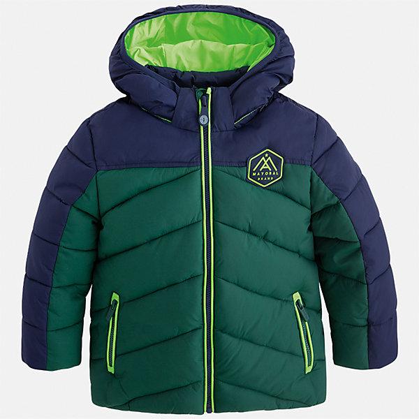 Куртка для мальчика MayoralВерхняя одежда<br>Характеристики товара:<br><br>• цвет: зеленый<br>• состав ткани: 100% полиамид<br>• подкладка: 100% полиамид<br>• утеплитель: 100% полиэстер<br>• сезон: демисезон<br>• температурный режим: от -10 до +10<br>• особенности модели: с капюшоном, дутая, стеганая<br>• карманы на молнии<br>• застежка: пуговицы<br>• страна бренда: Испания<br>• страна изготовитель: Индия<br><br>Яркая демисезонная куртка для мальчика от Майорал поможет обеспечить ребенку комфорт и тепло. Детская куртка с капюшоном отличается модным и продуманным дизайном. В куртке для мальчика от испанской компании Майорал ребенок будет выглядеть модно, а чувствовать себя - комфортно. <br><br>Куртку для мальчика Mayoral (Майорал) можно купить в нашем интернет-магазине.<br>Ширина мм: 356; Глубина мм: 10; Высота мм: 245; Вес г: 519; Цвет: зеленый; Возраст от месяцев: 18; Возраст до месяцев: 24; Пол: Мужской; Возраст: Детский; Размер: 92,134,128,122,116,110,104,98; SKU: 6934778;