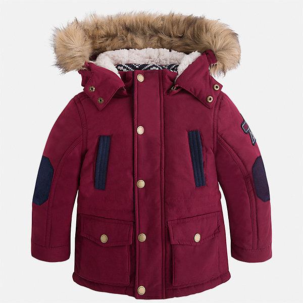 Куртка для мальчика MayoralВерхняя одежда<br>Характеристики товара:<br><br>• цвет: бордовый<br>• состав ткани: 88% полиэстер, 12% полиамид<br>• подкладка: 100% полиэстер<br>• утеплитель: 100% полиэстер<br>• сезон: демисезон<br>• температурный режим: от -10 до +10<br>• особенности модели: с капюшоном<br>• капюшон: с опушкой, отстегивается<br>• застежка: молния, кнопки<br>• страна бренда: Испания<br>• страна изготовитель: Индия<br><br>Стильная демисезонная куртка для мальчика от Майорал поможет обеспечить ребенку комфорт и тепло. Детская куртка с капюшоном отличается модным и продуманным дизайном. В куртке для мальчика от испанской компании Майорал ребенок будет выглядеть модно, а чувствовать себя - комфортно. <br><br>Куртку для мальчика Mayoral (Майорал) можно купить в нашем интернет-магазине.<br>Ширина мм: 356; Глубина мм: 10; Высота мм: 245; Вес г: 519; Цвет: бордовый; Возраст от месяцев: 18; Возраст до месяцев: 24; Пол: Мужской; Возраст: Детский; Размер: 92,134,128,122,116,110,104,98; SKU: 6934805;