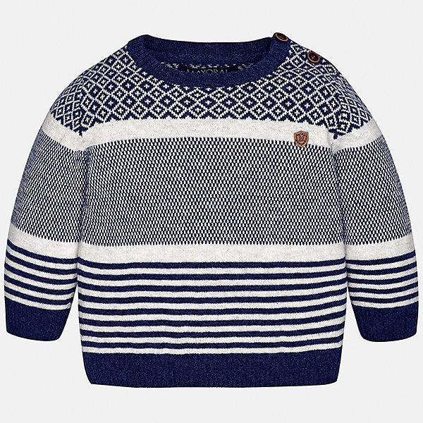 Свитер для мальчика MayoralТолстовки, свитера, кардиганы<br>Характеристики товара:<br><br>• цвет: синий/белый<br>• состав ткани: 60% хлопок, 30% полиамид, 10% шерсть<br>• сезон: демисезон<br>• особенности модели: вязаный рисунок<br>• длинные рукава<br>• страна бренда: Испания<br>• страна изготовитель: Индия<br><br>Вязаный детский свитер сделан из дышащего приятного на ощупь материала. Благодаря продуманному крою детского свитера создаются комфортные условия для тела. Свитер с узором для мальчика отличается стильным продуманным дизайном.<br><br>Свитер для мальчика Mayoral (Майорал) можно купить в нашем интернет-магазине.<br>Ширина мм: 190; Глубина мм: 74; Высота мм: 229; Вес г: 236; Цвет: синий/белый; Возраст от месяцев: 6; Возраст до месяцев: 9; Пол: Мужской; Возраст: Детский; Размер: 74,98,92,86,80; SKU: 6935105;