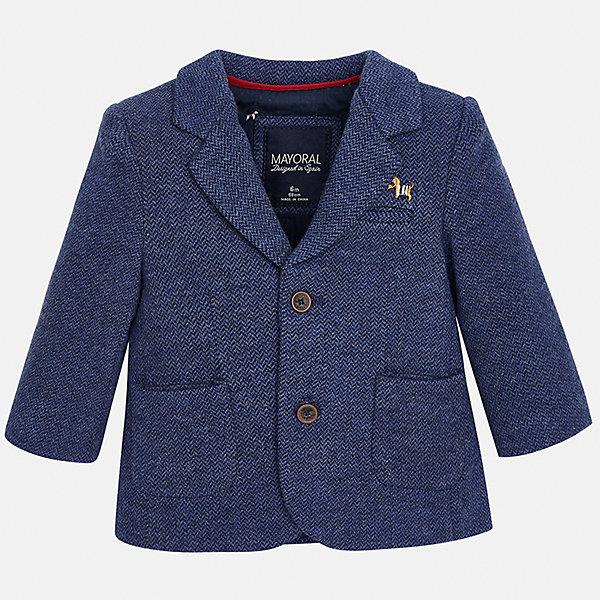 Пиджак для мальчика MayoralКостюмы и пиджаки<br>Характеристики товара:<br><br>• цвет: синий<br>• состав ткани: 53% хлопок, 35% полиэстер, 12% полиамид<br>• сезон: демисезон<br>• особенности модели: школьная<br>• длинные рукава<br>• застежка: пуговицы<br>• страна бренда: Испания<br>• страна изготовитель: Индия<br><br>Такой синий детский пиджак сшит из приятного на материала, преимущественно имеющего в составе натуральный хлопок. Пиджак для мальчика Mayoral дополнен накладными карманами. Пиджак для ребенка отличается классическим силуэтом. Детский пиджак обеспечит ребенку аккуратный внешний вид. <br><br>Пиджак для мальчика Mayoral (Майорал) можно купить в нашем интернет-магазине.<br>Ширина мм: 190; Глубина мм: 74; Высота мм: 229; Вес г: 236; Цвет: синий; Возраст от месяцев: 12; Возраст до месяцев: 15; Пол: Мужской; Возраст: Детский; Размер: 80,98,92,86; SKU: 6935240;