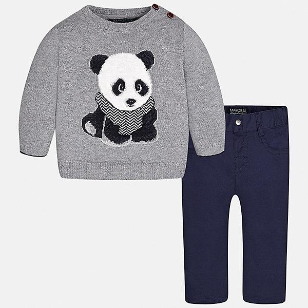 Комплект: свитер и брюки для мальчика MayoralКомплекты<br>Характеристики товара:<br><br>• цвет: серый<br>• состав ткани: свитер - 60% хлопок, 30% полиамид, 10% шерсть, брюки - 100% хлопок,<br>• комплектация: свитер и брюки<br>• сезон: демисезон<br>• особенности модели: вязаный рисунок<br>• шлевки<br>• регулируемая талия<br>• застежка брюк: пуговица<br>• страна бренда: Испания<br>• страна изготовитель: Индия<br><br>Этот детский комплект из свитера и брюк подойдет для ношения в разных случаях. Отличный способ обеспечить ребенку тепло и комфорт - надеть детские брюки и свитер от Mayoral. Детские брюки сшиты из приятного на ощупь материала. Свитер для мальчика Mayoral удобно сидит по фигуре. <br><br>Комплект: свитер и брюки для мальчика Mayoral (Майорал) можно купить в нашем интернет-магазине.<br>Ширина мм: 215; Глубина мм: 88; Высота мм: 191; Вес г: 336; Цвет: серый; Возраст от месяцев: 18; Возраст до месяцев: 24; Пол: Мужской; Возраст: Детский; Размер: 92,98,86,80,74; SKU: 6935385;